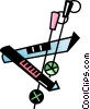 Vector Clip Art graphic  of a Down hill skis and pole