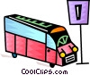 Vector Clip Art graphic  of a City bus at stop