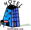 Vector Clip Art graphic  of a Colorful hotel
