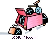 Vector Clipart graphic  of a Packed mini van with bike on the roof