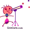 Vector Clipart image  of a Boy looking through telescope