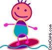 Boy on a surfboard Vector Clip Art graphic