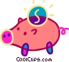 Vector Clip Art graphic  of a Change and piggy bank