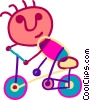 Boy riding his bike Vector Clip Art picture