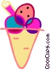 Vector Clipart picture  of a Three flavored ice cream cone