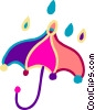 Vector Clip Art picture  of a Rain and umbrella