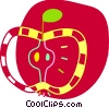 Apple cut in half Vector Clipart image