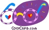 Vector Clip Art picture  of a Eye glasses with hearts