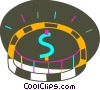 Vector Clipart graphic  of a Colorful coin