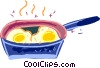 Vector Clip Art graphic  of a Frying pan with eggs