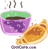 Vector Clipart graphic  of a Cup of coffee and croissant