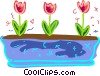 Vector Clip Art graphic  of a Planted tulips