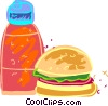 Vector Clipart picture  of a Hamburger and ketchup