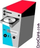 Vector Clip Art image  of a Computer with cd drive open