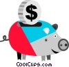 Vector Clipart illustration  of a Piggy bank and coin