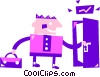 Man opening door Vector Clip Art picture