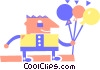 Vector Clip Art image  of a man with party balloons