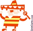 Man with sombrero and maracas Vector Clip Art picture