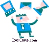 Vector Clipart graphic  of a Businessman juggling work load
