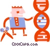 Vector Clipart graphic  of a Scientist cutting DNA strand