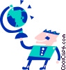 Man holding a globe Vector Clipart graphic