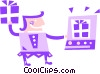 Vector Clip Art graphic  of a Woman on-line shopping