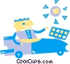 Vector Clip Art image  of a Man driving solar powered car