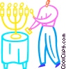 Vector Clip Art graphic  of a Man lighting menorah