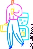 Man getting water at work Vector Clip Art picture