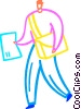 Vector Clip Art picture  of a Letter carrier delivering mail