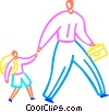 Man walking his child to school Vector Clip Art image