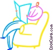 Vector Clip Art graphic  of a Man relaxing in his chair reading