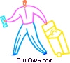 Vector Clipart graphic  of a Man with plane ticket and