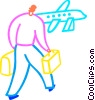 Man with luggage about to board airplane Vector Clipart illustration