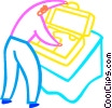 Vector Clip Art graphic  of a Man packing his suitcase