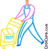 Vector Clipart graphic  of a Worker moving shipment with