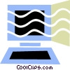 Computer work station Vector Clip Art picture