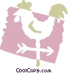 Rooster weathervane Vector Clipart illustration