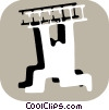 Stick figure character running with ladder Vector Clipart picture