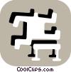 Stick figure character jumping hurdles Vector Clip Art graphic