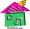 Vector Clip Art graphic  of a Colorful house