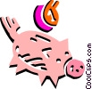 Vector Clip Art image  of a Piggy bank and coin