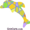 Vector Clipart graphic  of a Colorful dolphin