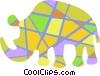 Vector Clip Art image  of a Colorful rhinoceros