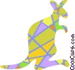 Vector Clipart graphic  of a Colorful kangaroo
