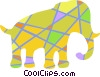 Vector Clip Art image  of a Colorful elephant