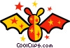Vector Clip Art picture  of a Colorful bat