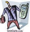 Businessman answering his cell phone Vector Clipart graphic