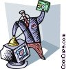Businessman with a computer virus Vector Clip Art image