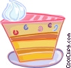Piece of cake with whipped cream Vector Clipart illustration
